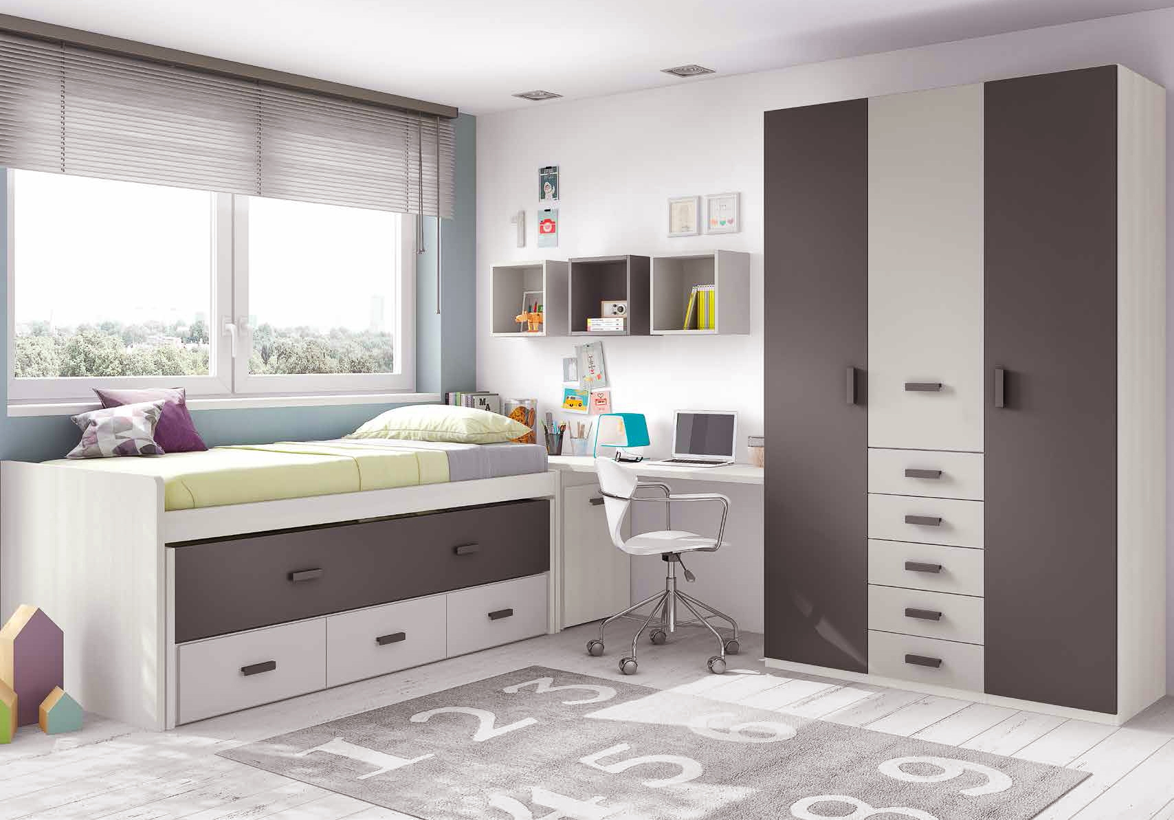 chambre ado garcon moderne avec lit gigogne glicerio. Black Bedroom Furniture Sets. Home Design Ideas