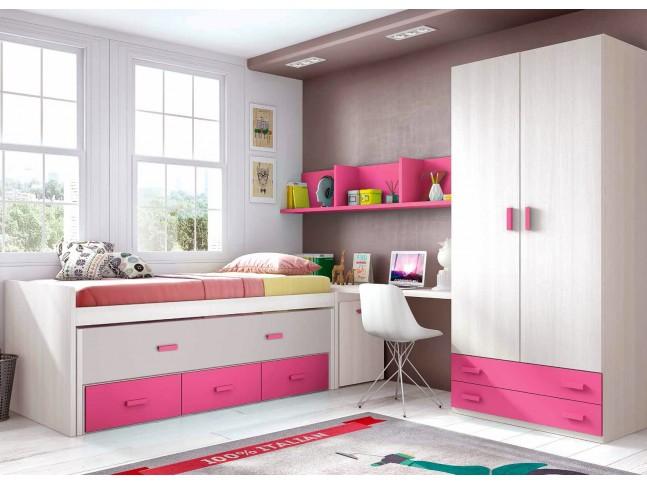 Chambre fille rose composition L011 avec lit gigogne - GLICERIO