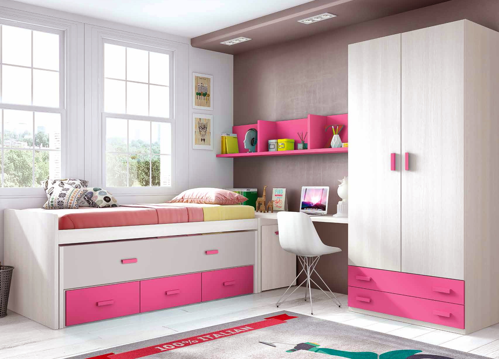 simple chambre fille rose composition l avec lit gigogne. Black Bedroom Furniture Sets. Home Design Ideas