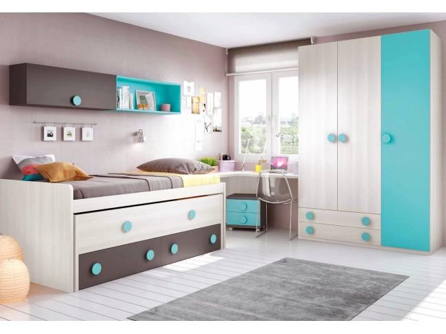 Chambre moderne ado composition L013 avec lit gigogne - GLICERIO