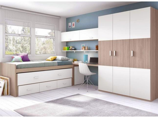 Chambre enfant mixte composition L014 avec lit gigogne - GLICERIO