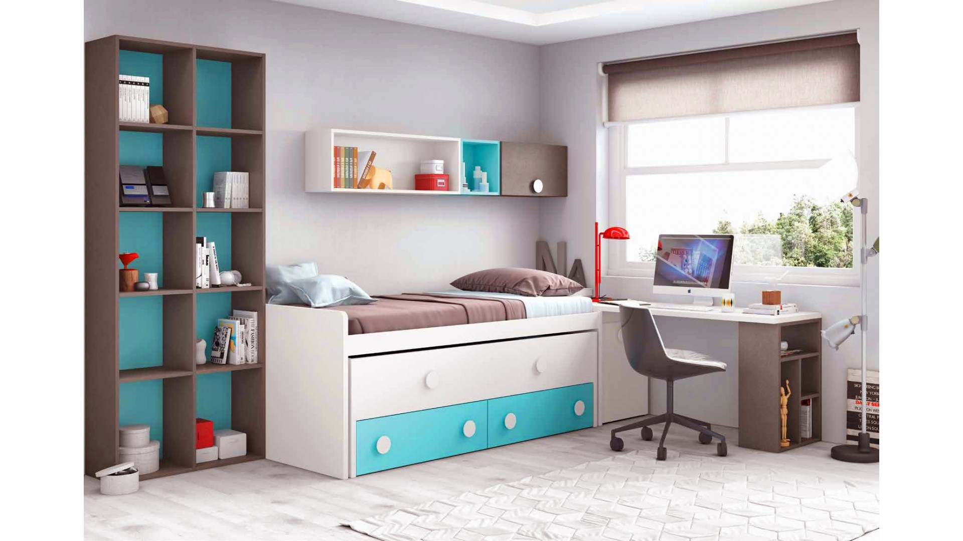 chambre compl te enfant avec lit biblioth que glicerio so nuit. Black Bedroom Furniture Sets. Home Design Ideas