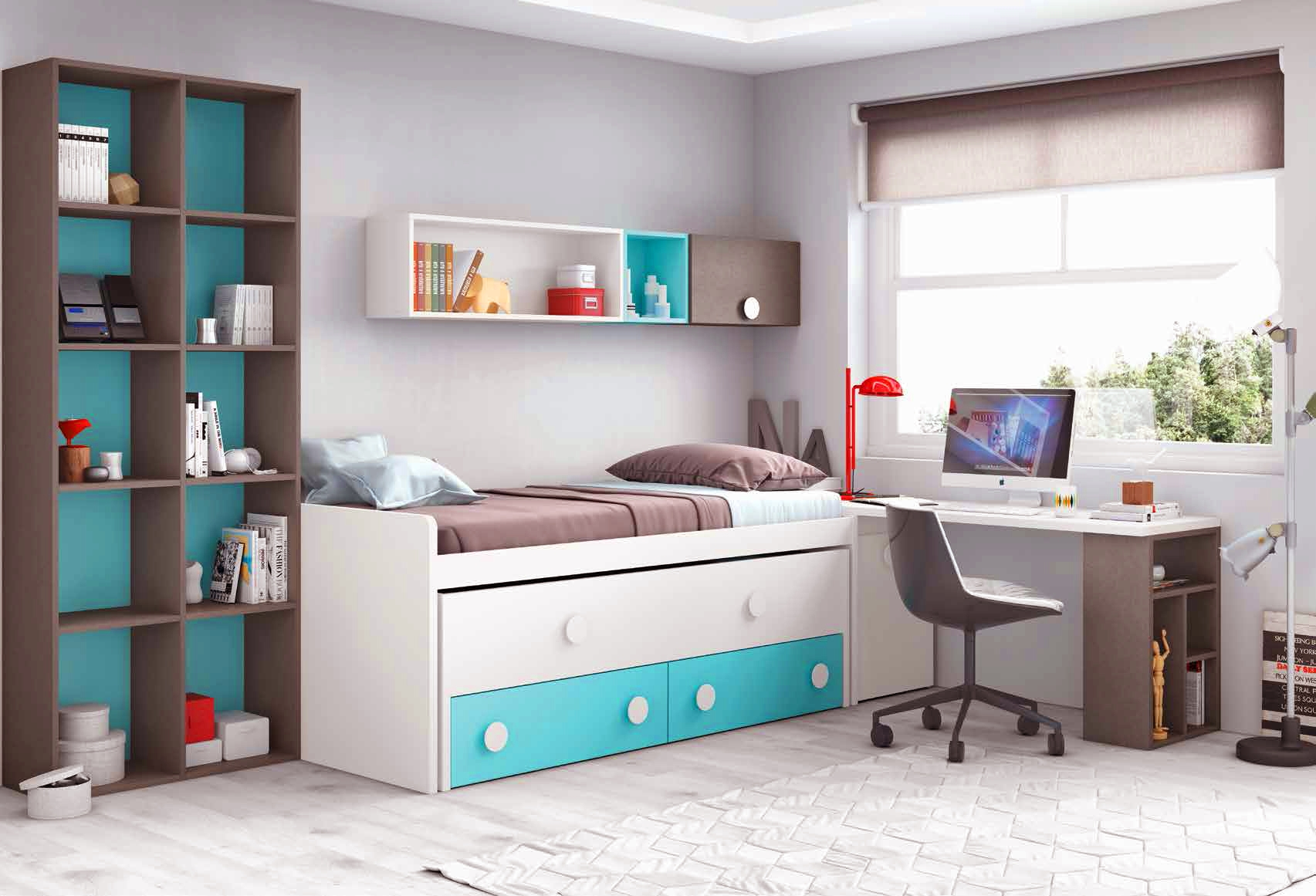 chambre compl te enfant avec lit biblioth que glicerio. Black Bedroom Furniture Sets. Home Design Ideas