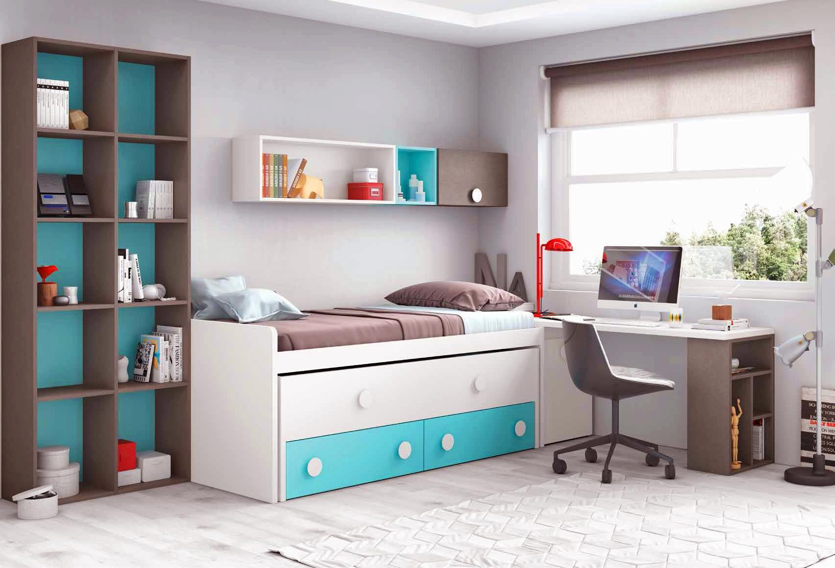 Chambre complète enfant composition L015 avec lit gigogne - GLICERIO