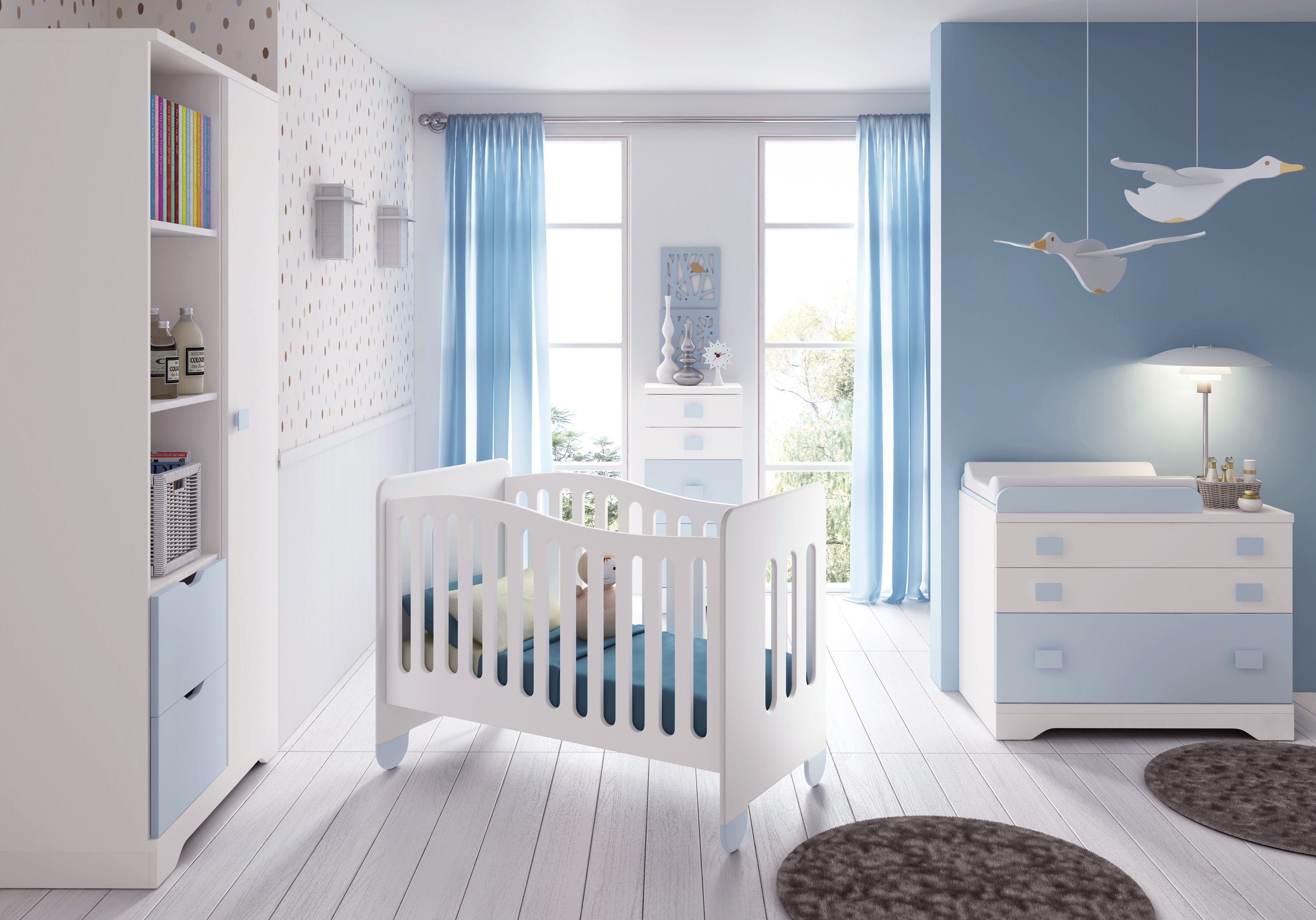 Chambre b b gar on compl te gioco blanc et bleu for Collection chambre bebe garcon