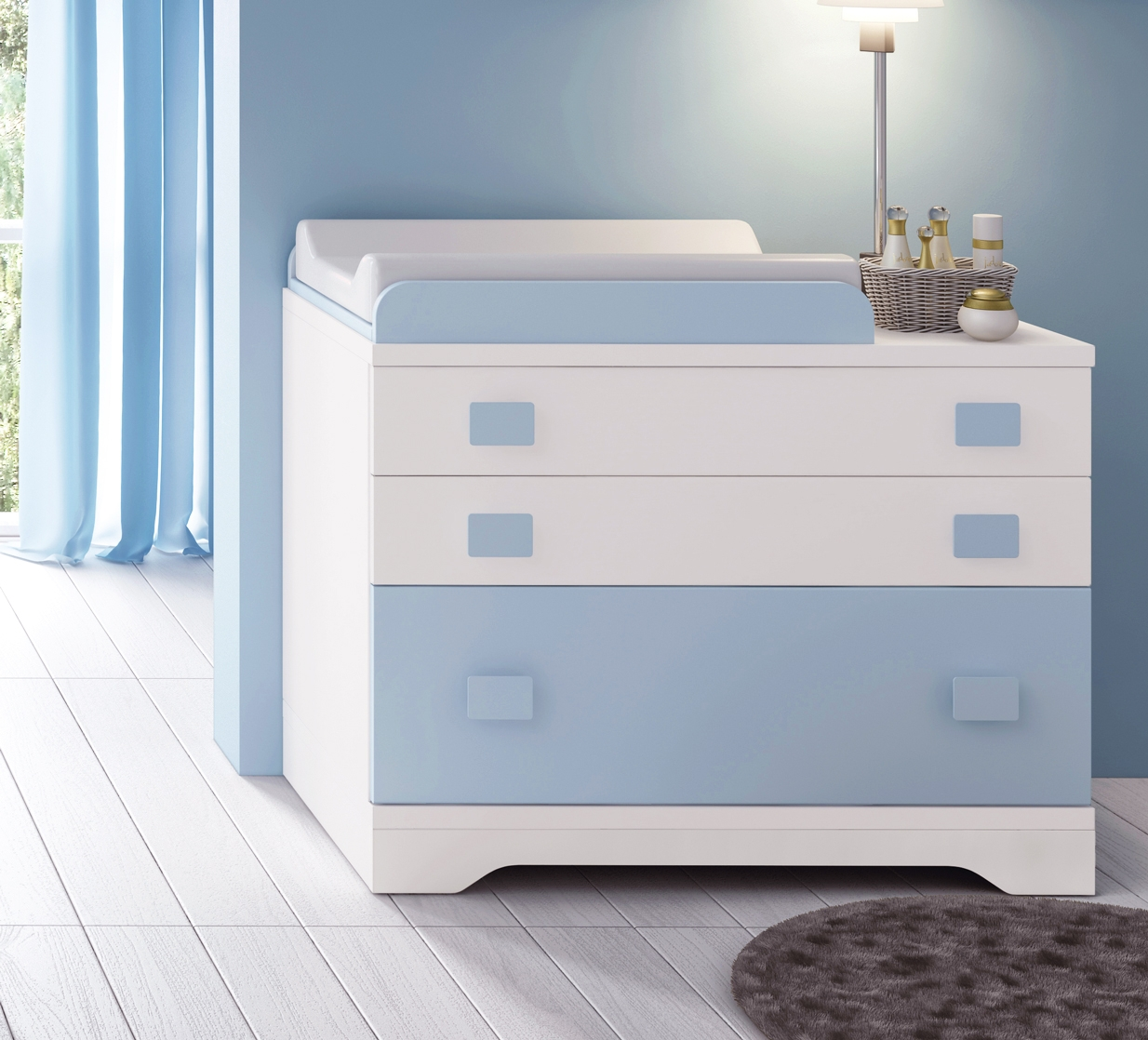 chambre b b gar on compl te gioco blanc et bleu. Black Bedroom Furniture Sets. Home Design Ideas
