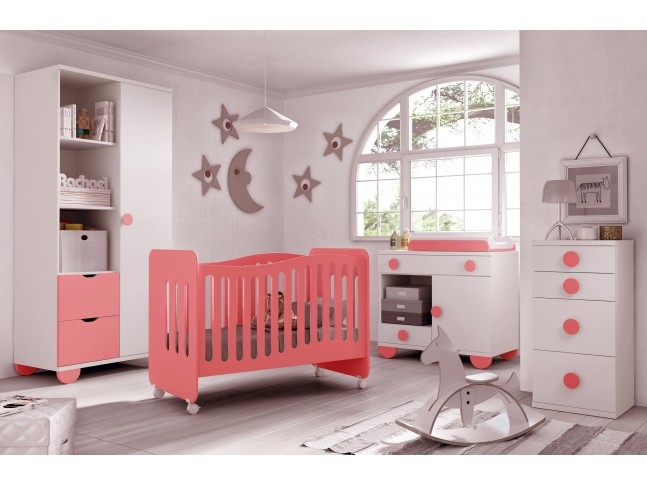 Chambre de b b fille compl te avec lit volutif for Photo de chambre bebe