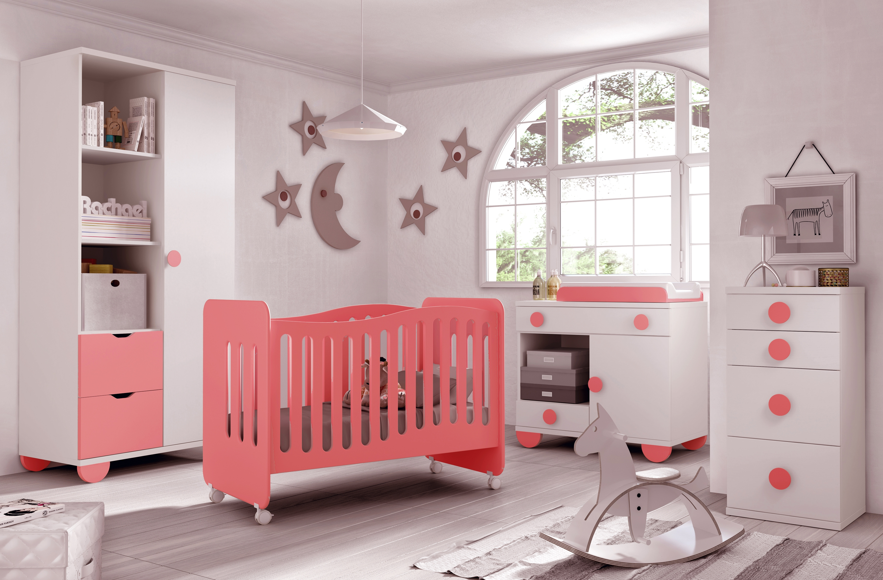 Chambre b b fille gioco couleur blanc et rose glicerio for Photo de chambre de bebe fille