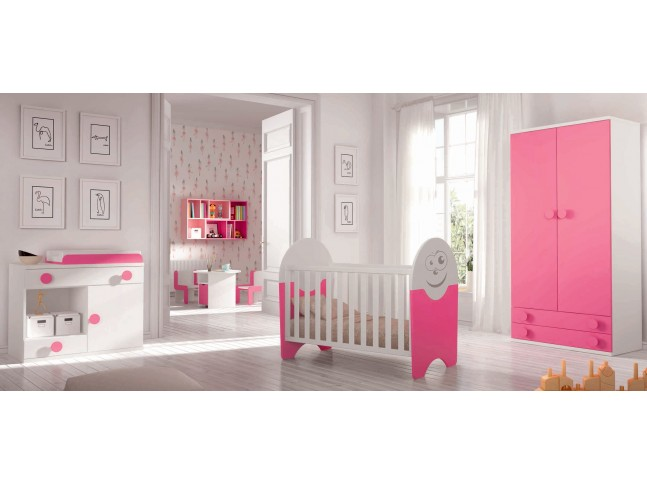 Chambre de b b fille compl te avec lit volutif for Photo chambre bebe fille