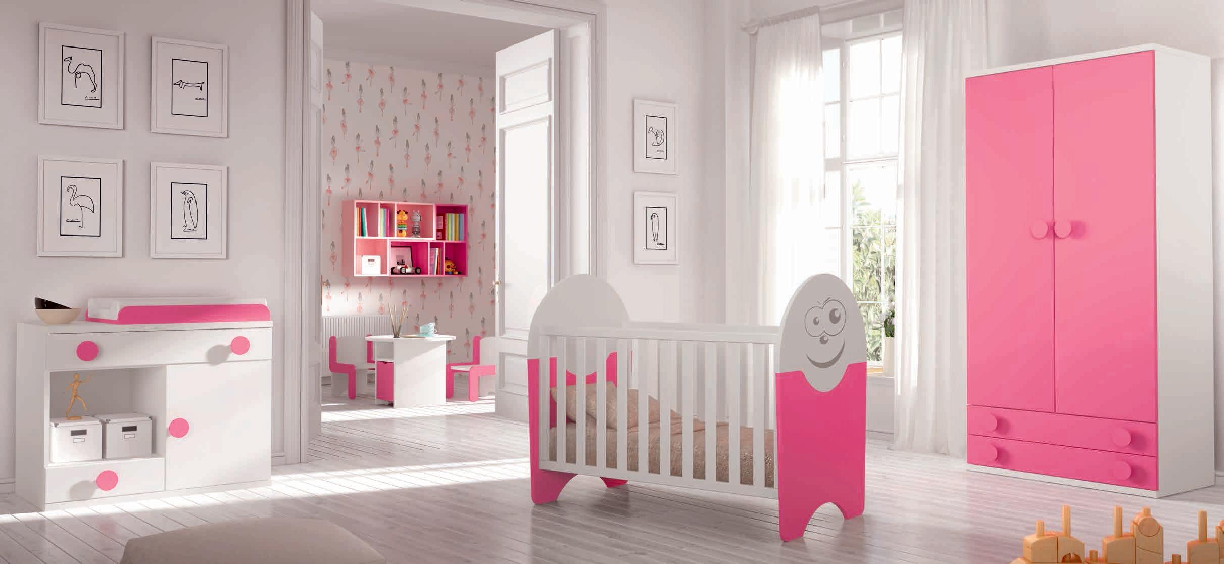 Chambre de bébé fille pl¨te Small rose et blanc GLICERIO SO NUIT