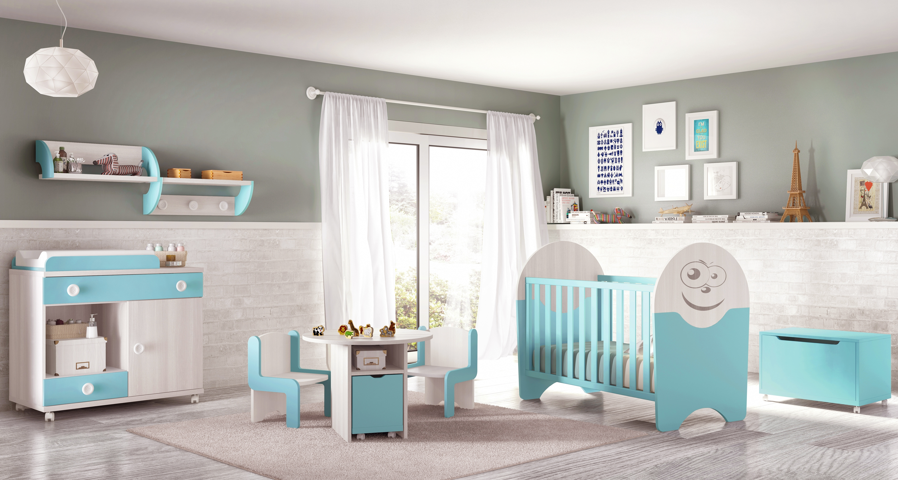 Chambre de b b complete small fun et color e glicerio for Chambre adulte avec lit bebe