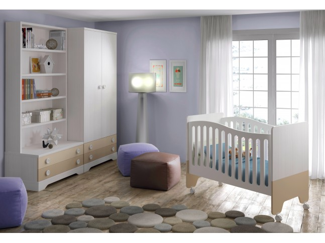 Chambre bébé design Bicouleur lit et armoires - GLICERIO