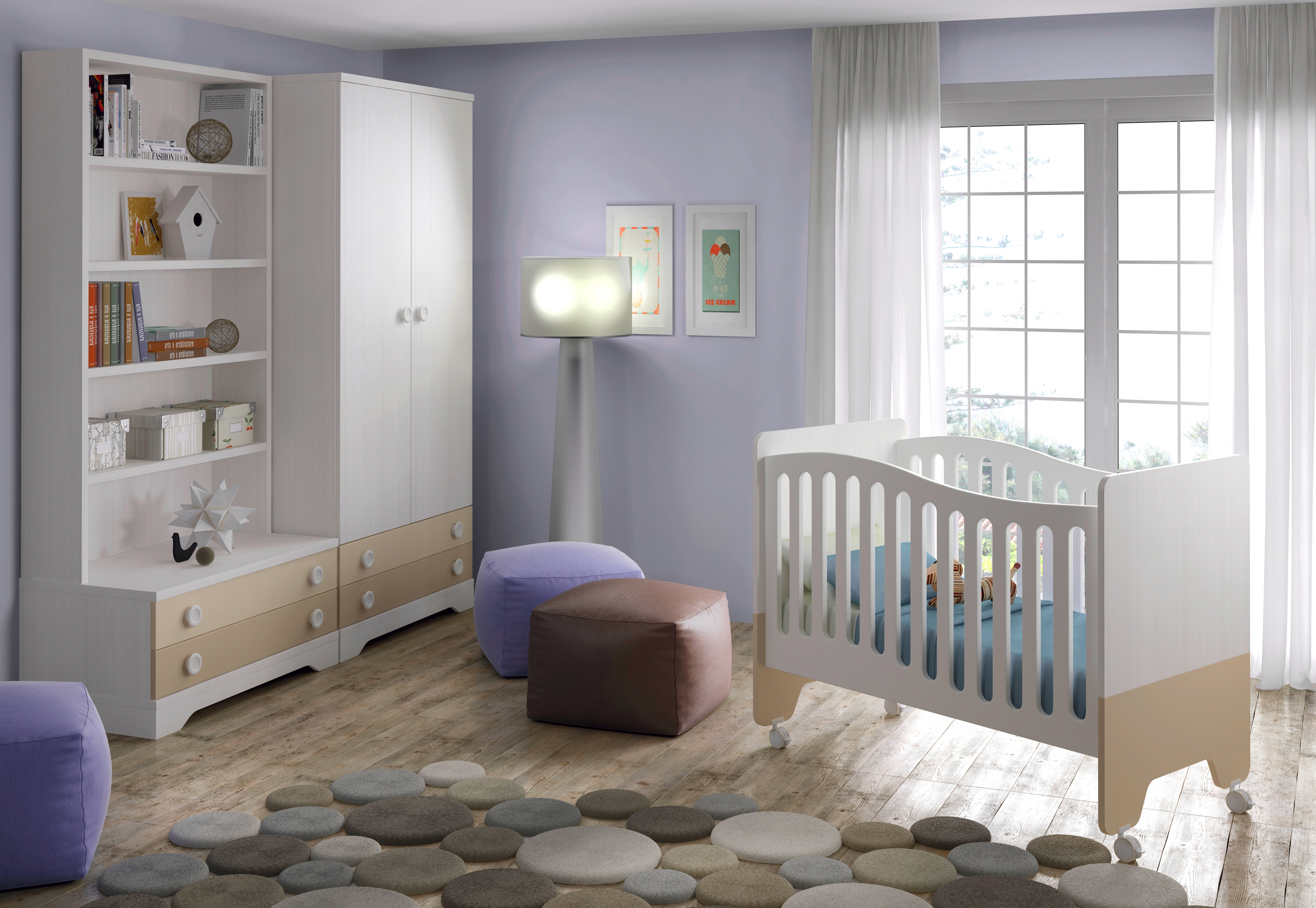 Chambre b b design bicouleur fun et color e glicerio for Photos chambre bebe