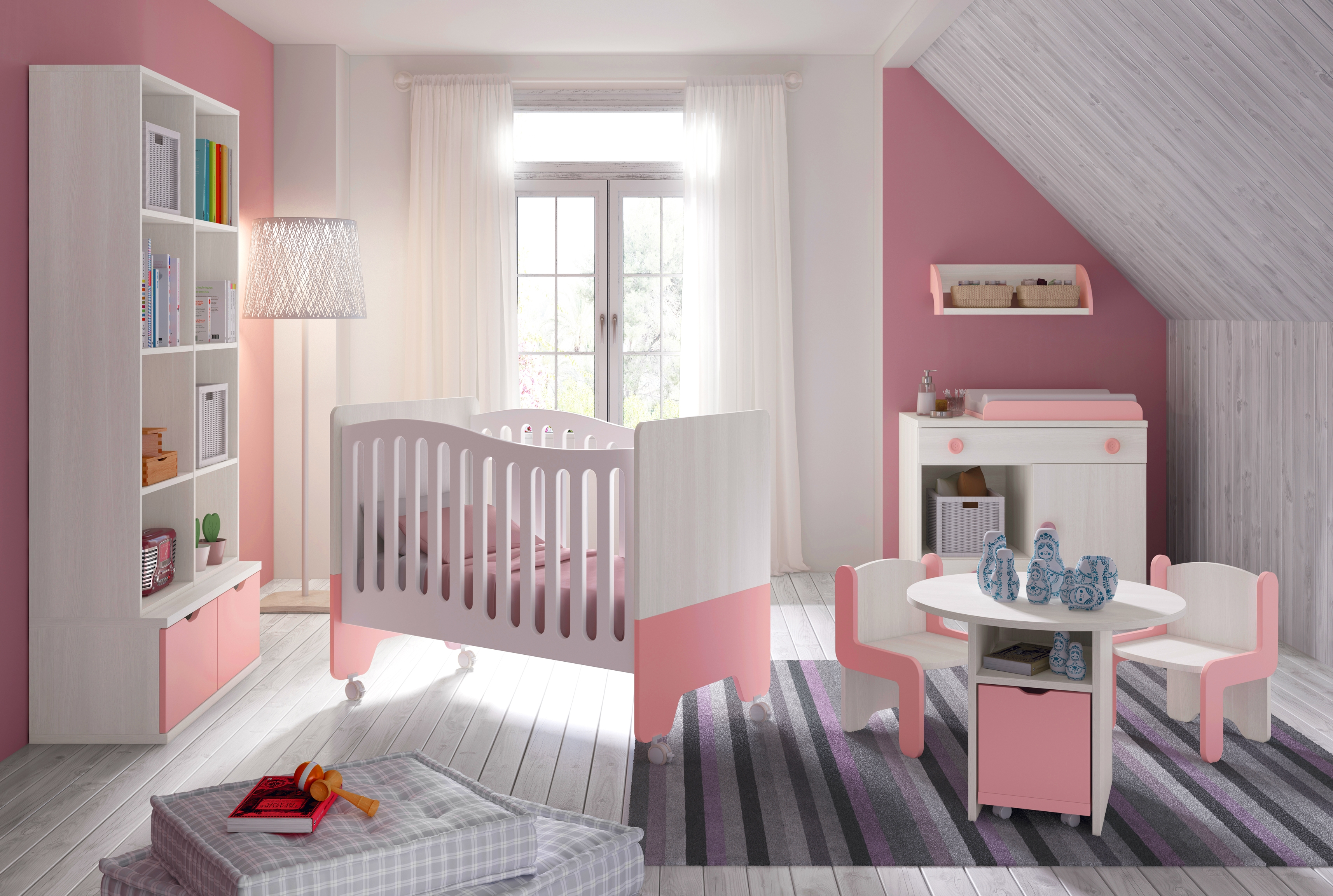 chambre b b fille avec lit bicouleur blanc et rose. Black Bedroom Furniture Sets. Home Design Ideas