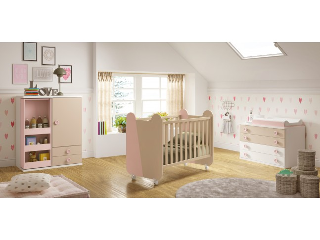 Chambre de b b fille compl te avec lit volutif for Ensemble lit commode bebe