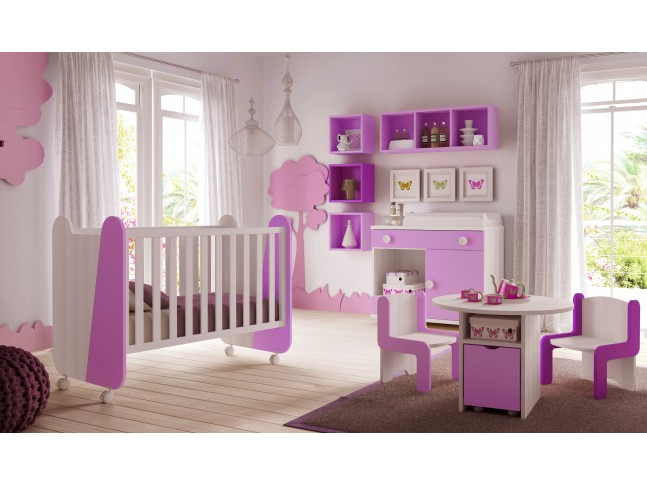 chambre b b fille gioco couleur blanc et rose glicerio. Black Bedroom Furniture Sets. Home Design Ideas
