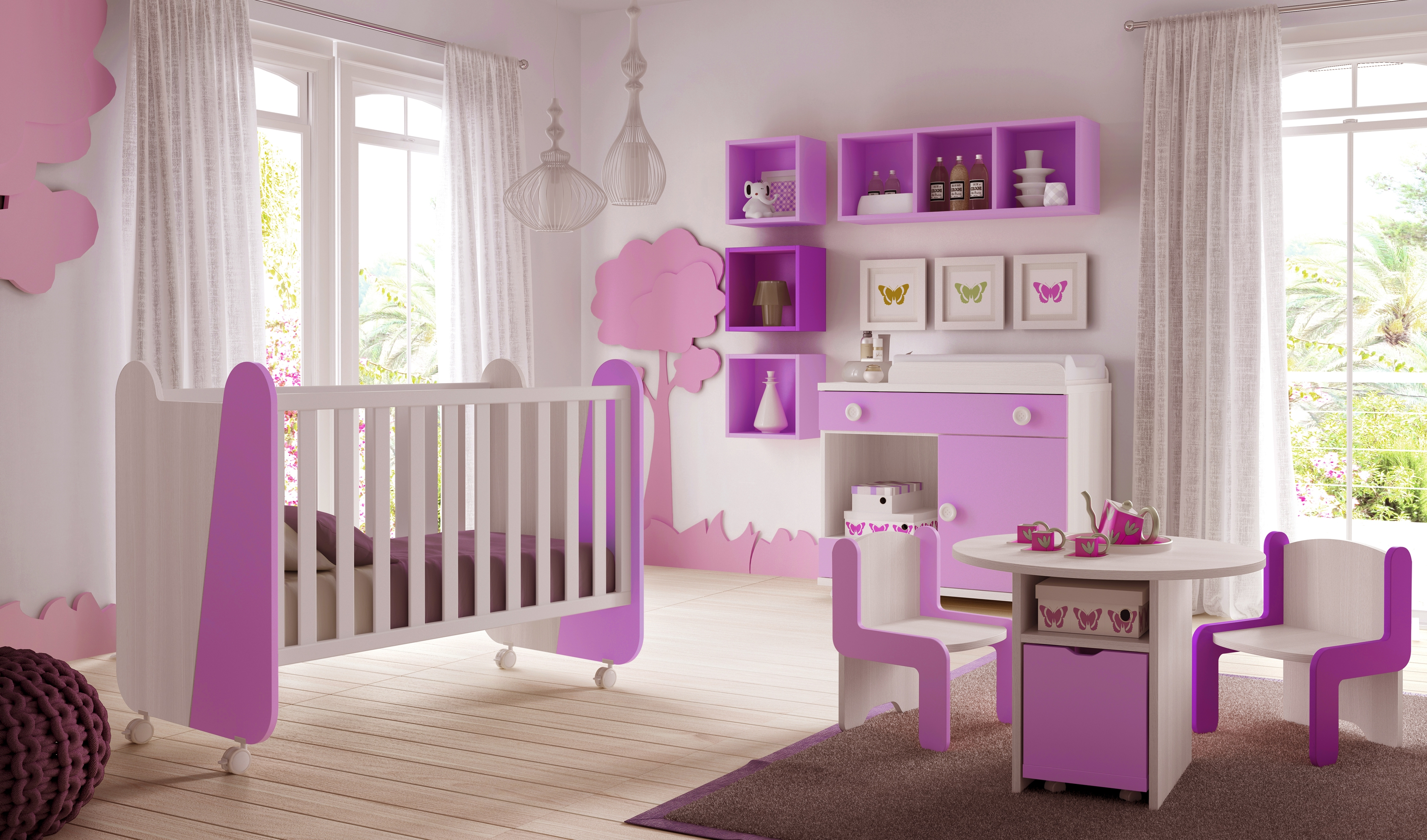 Chambre de b b fille avec lit design et color e glicerio for Photo de chambre de bebe fille