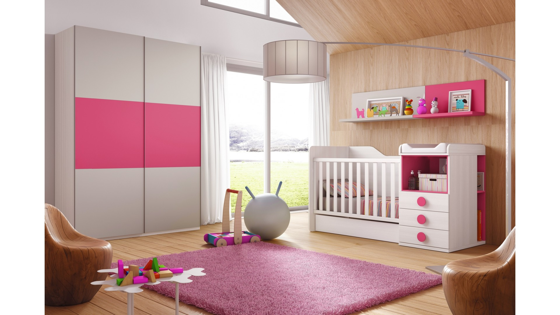 Chambre volutive b b star coloris fuchsia glicerio so nuit - Chambre enfant evolutive ...