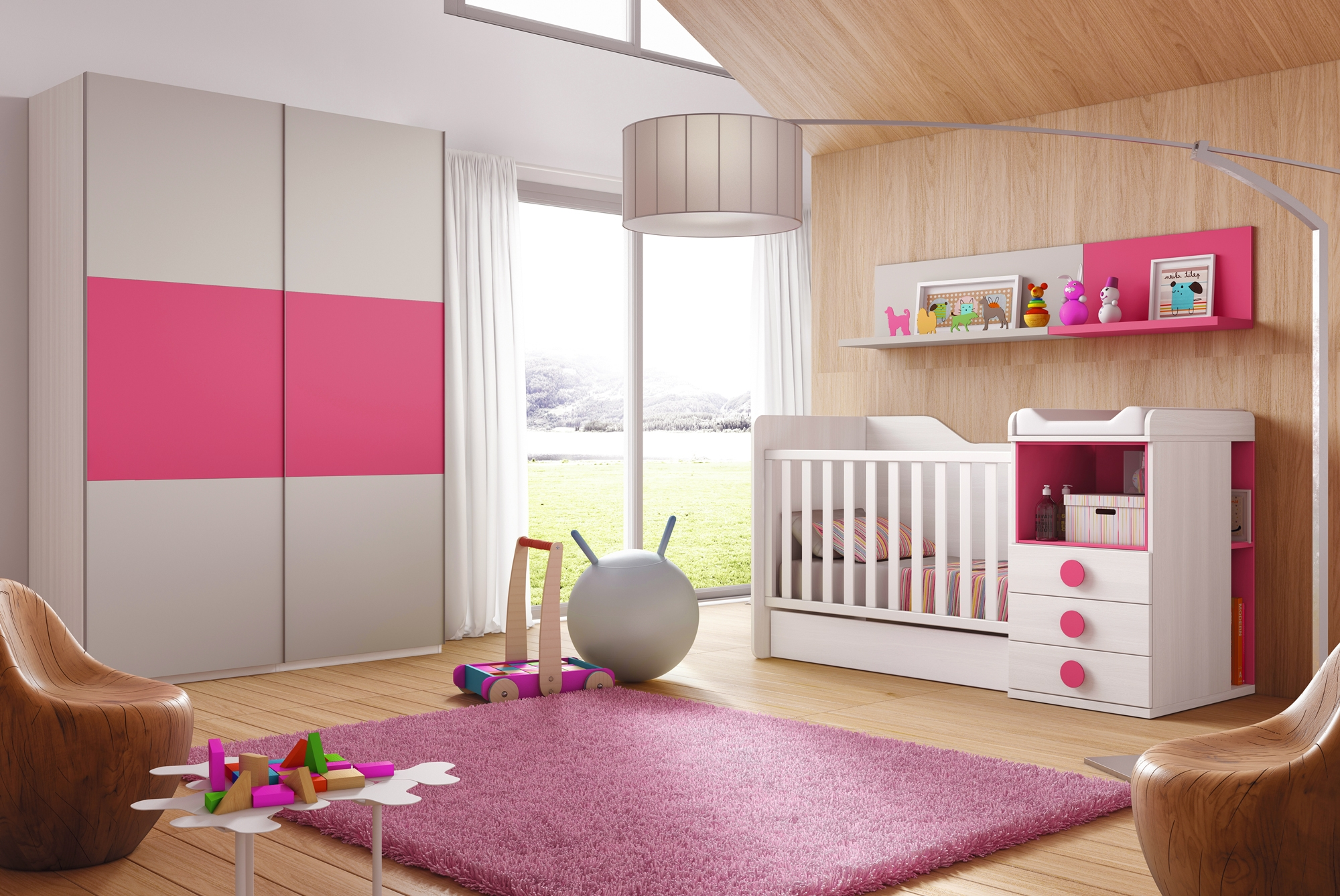 Chambre volutive b b star coloris fuchsia glicerio for Chambre bebe complete evolutive