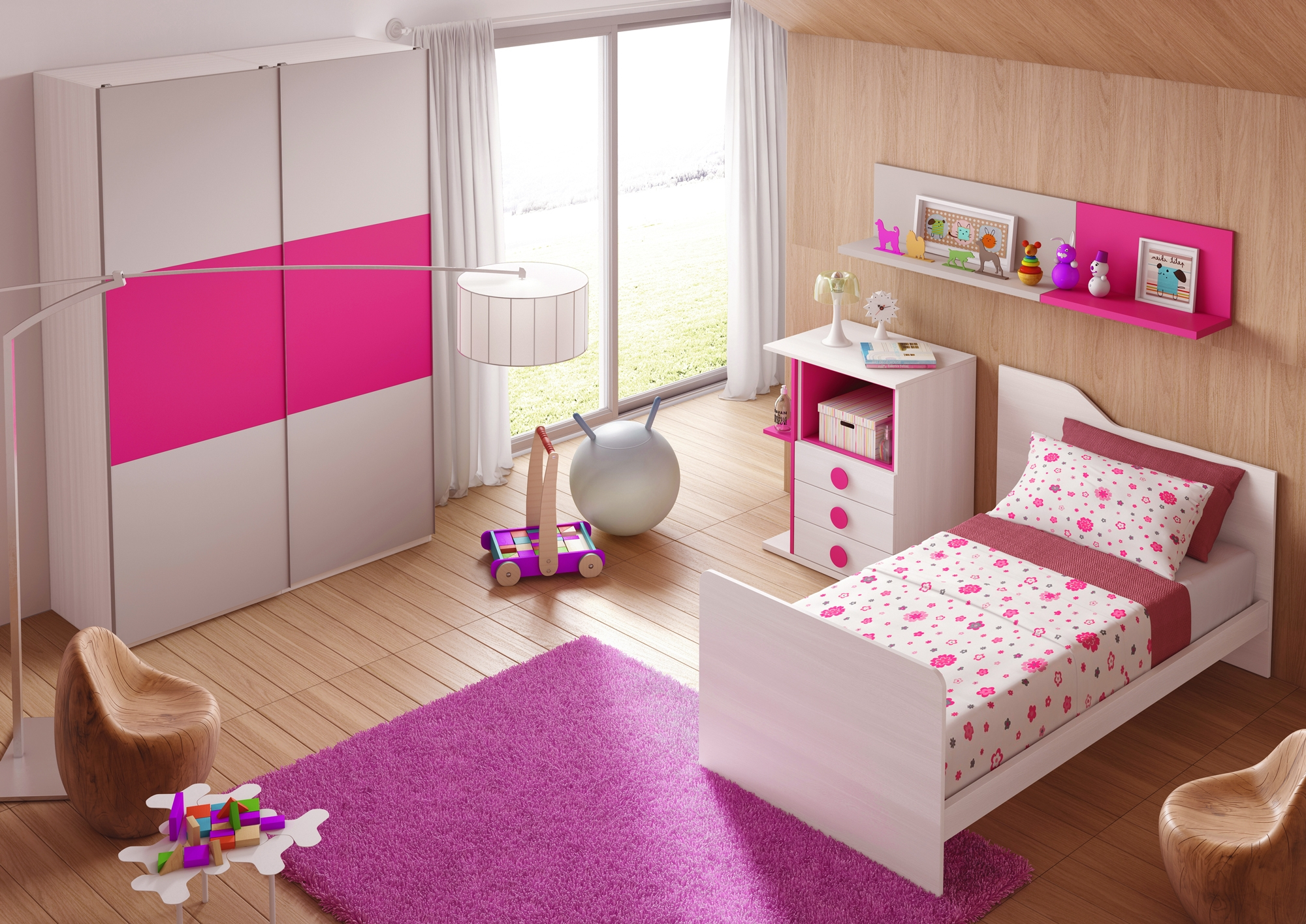 chambre volutive b b star coloris fuchsia glicerio so nuit. Black Bedroom Furniture Sets. Home Design Ideas