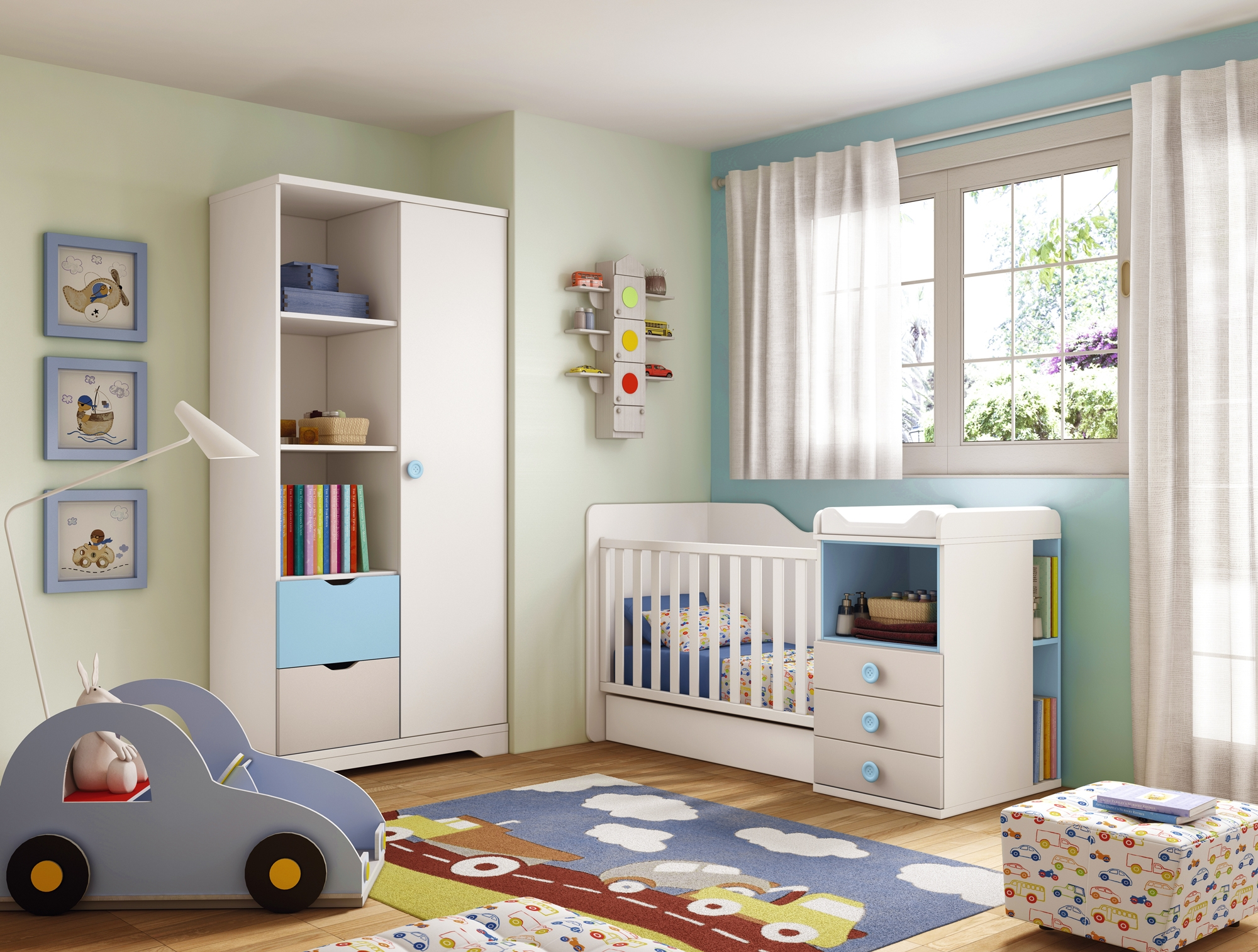 Chambre b b gar on lit volutif star bleu glicerio so for Photo chambre de bebe garcon