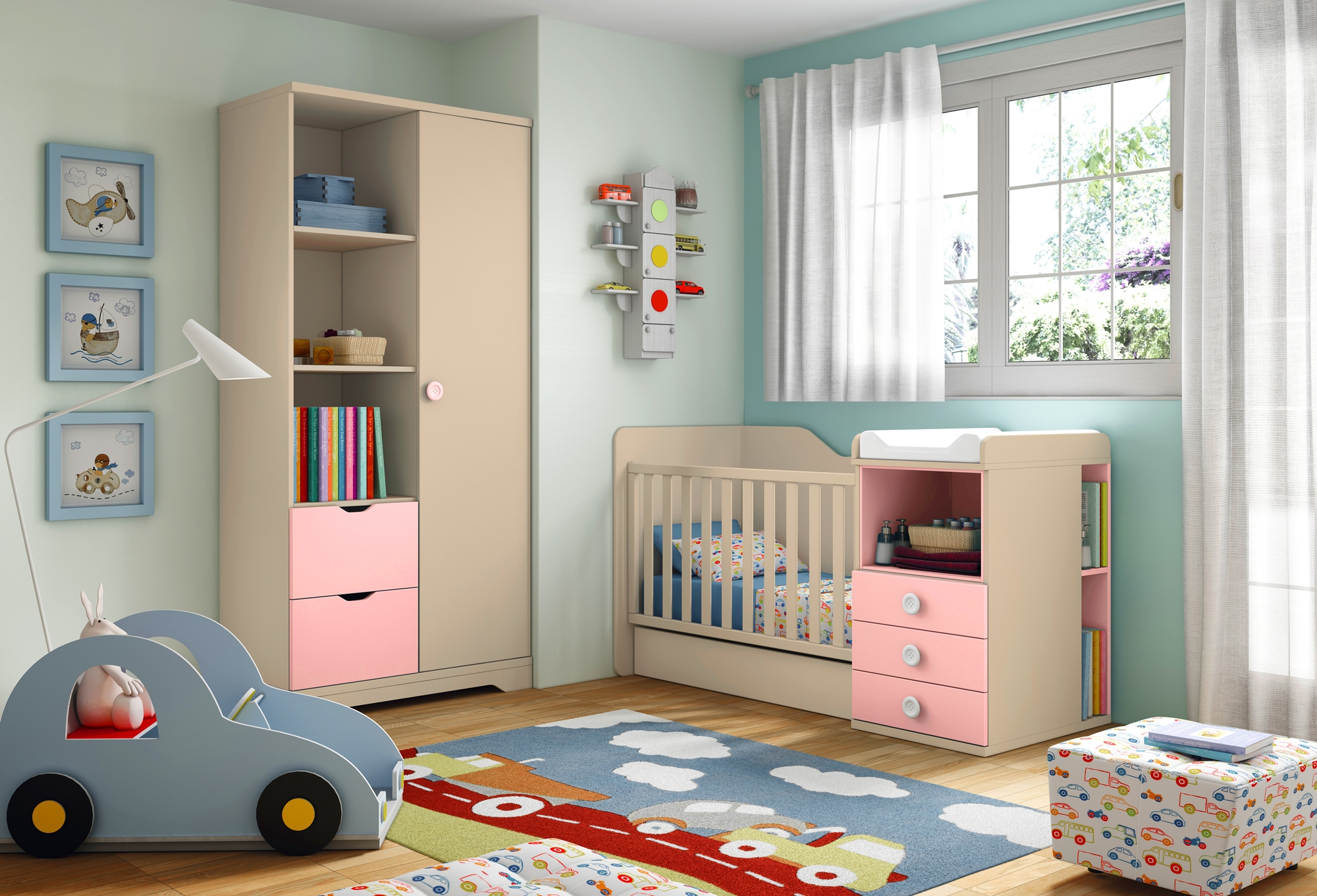 chambre bebe avec lit evolutif pr l vement. Black Bedroom Furniture Sets. Home Design Ideas
