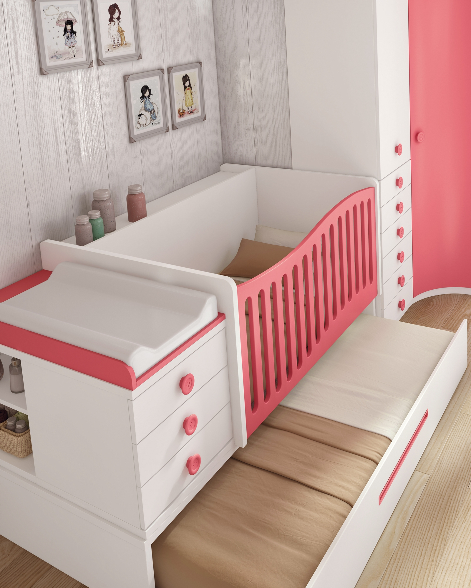 Berceau bébé BC30 évolutif avec lit gigogne GLICERIO SO NUIT