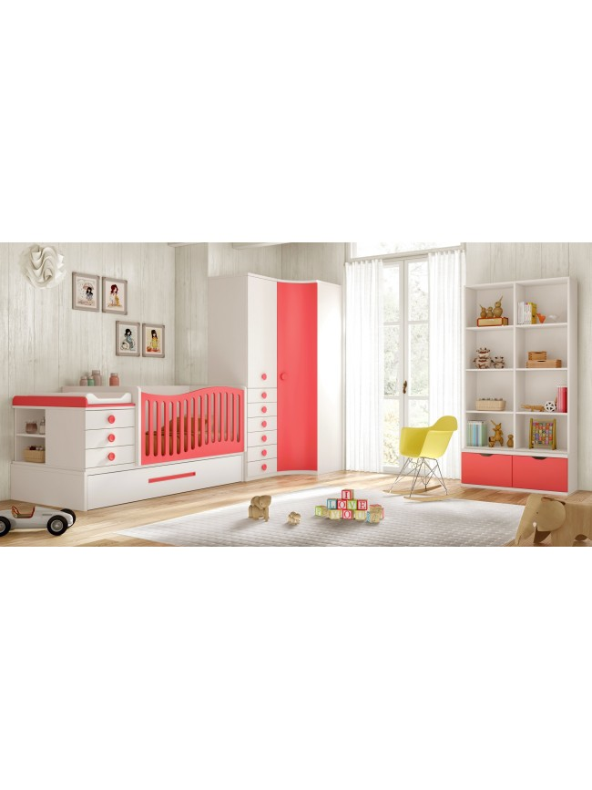 Lit b b fille 2 volutif bc30 avec tag re d co glicerio so nuit - Lit mezzanine evolutif ...