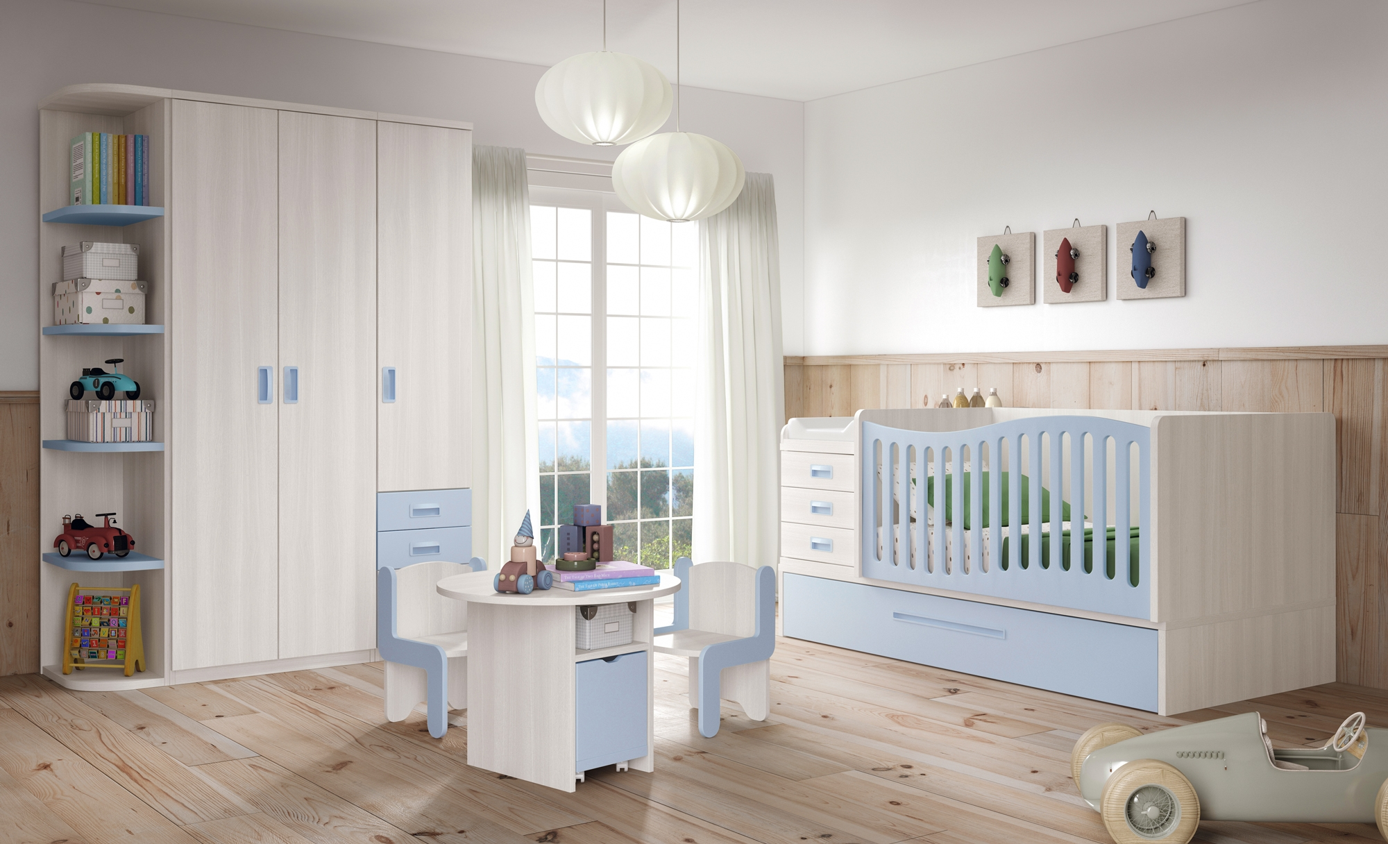 Chambre b b gar on bc30 lit volutif avec gigogne for Photo chambre de bebe garcon