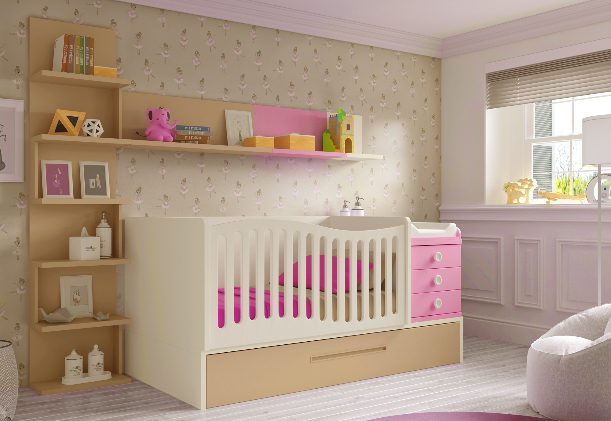 Lit b b fille 2 volutif bc30 avec tag re d co for Meuble chambre bebe fille