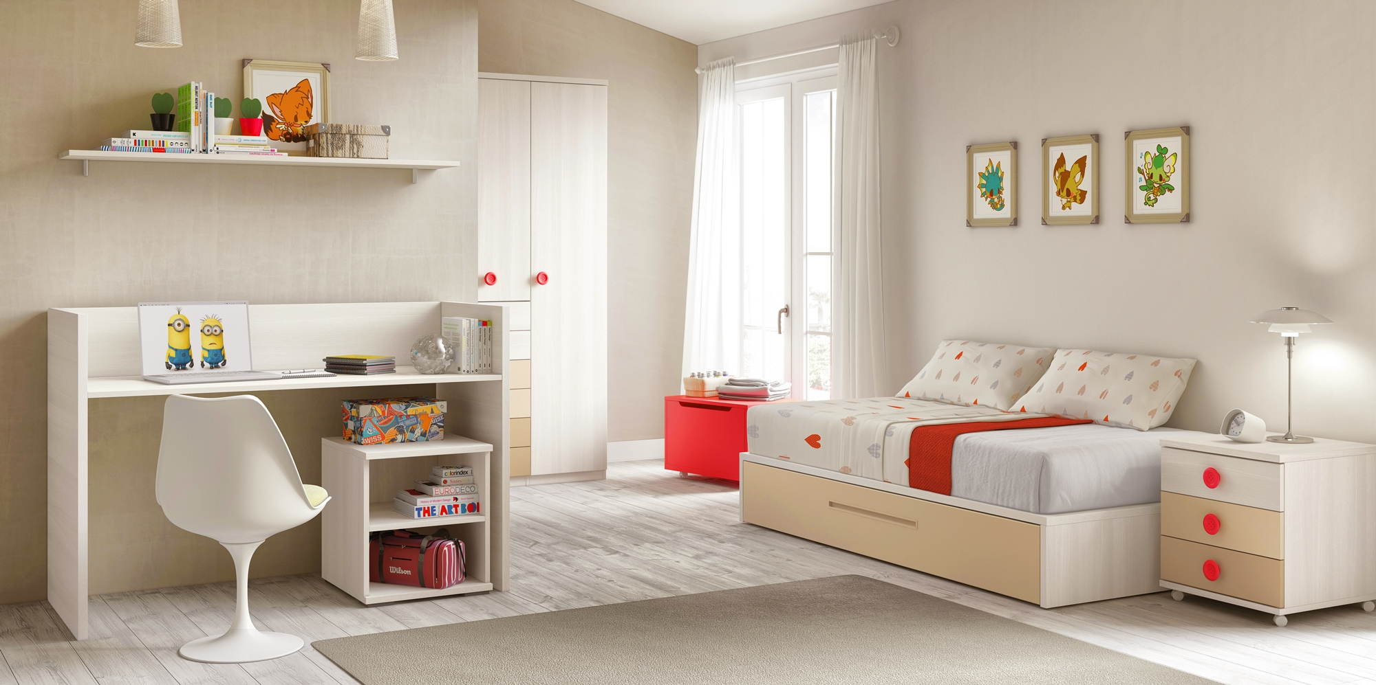 lit b b fille 2 volutif bc30 avec tag re d co. Black Bedroom Furniture Sets. Home Design Ideas