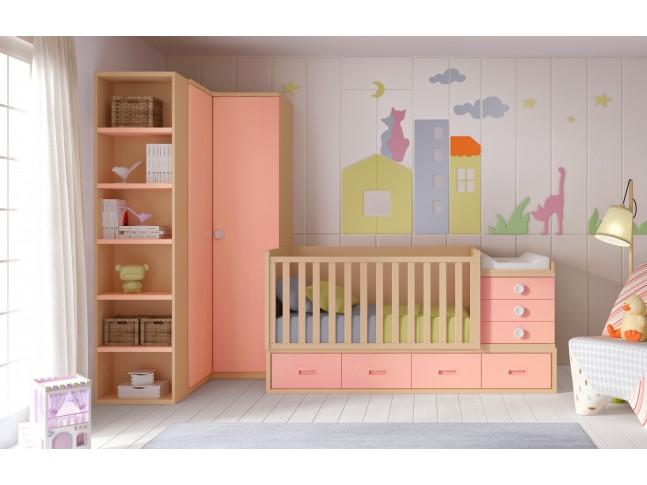 Chambre évolutive avec berceau bébé fille BC30 - GLICERIO