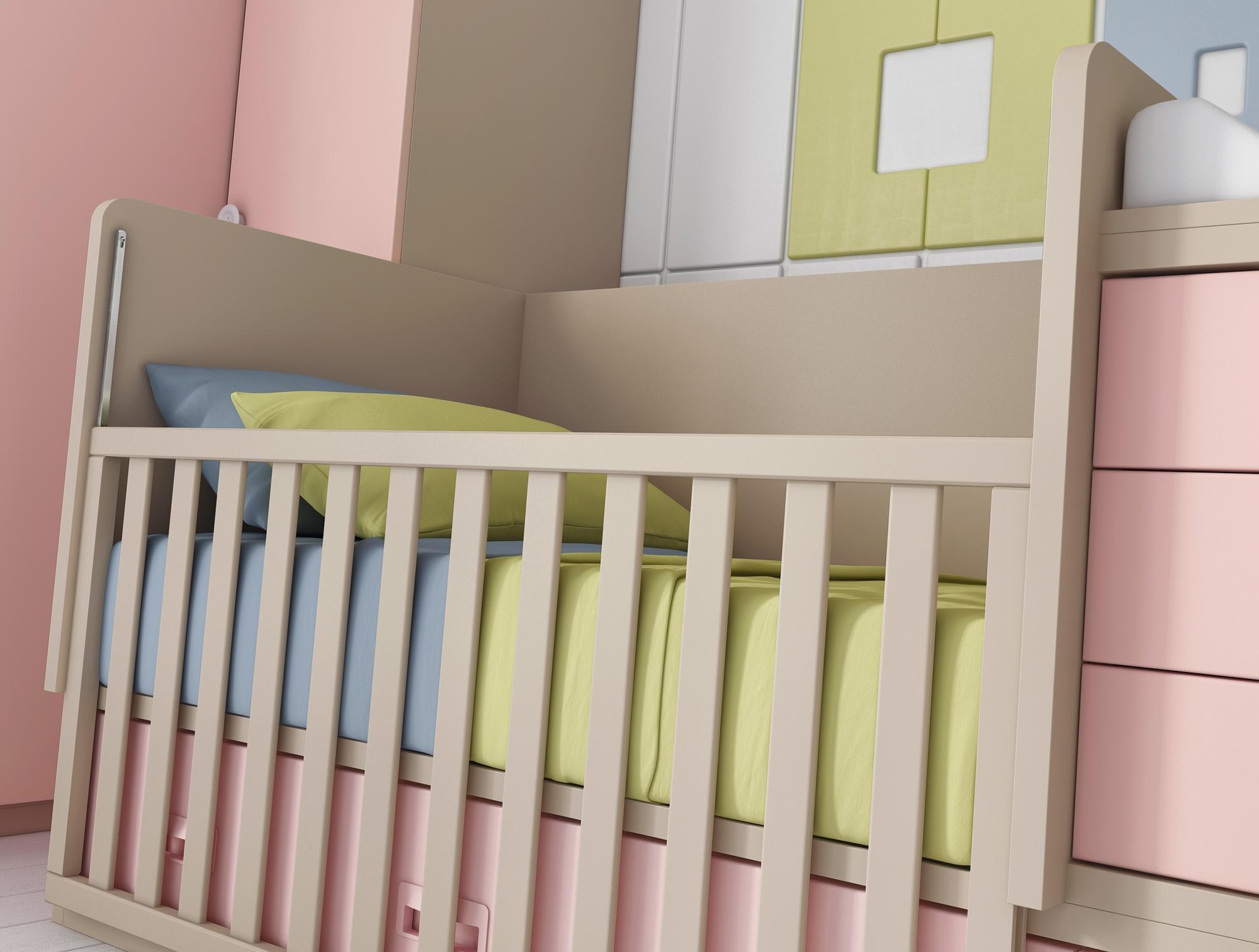 berceau b b fille bc30 lit volutif avec 4 coffres. Black Bedroom Furniture Sets. Home Design Ideas