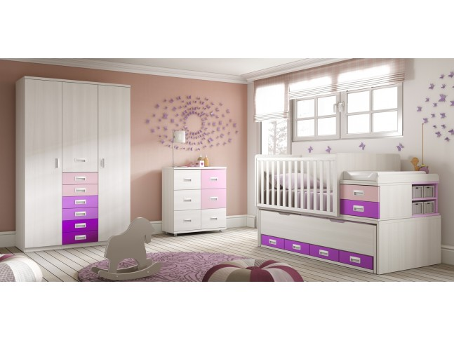 chambre de b b fille compl te avec lit volutif. Black Bedroom Furniture Sets. Home Design Ideas