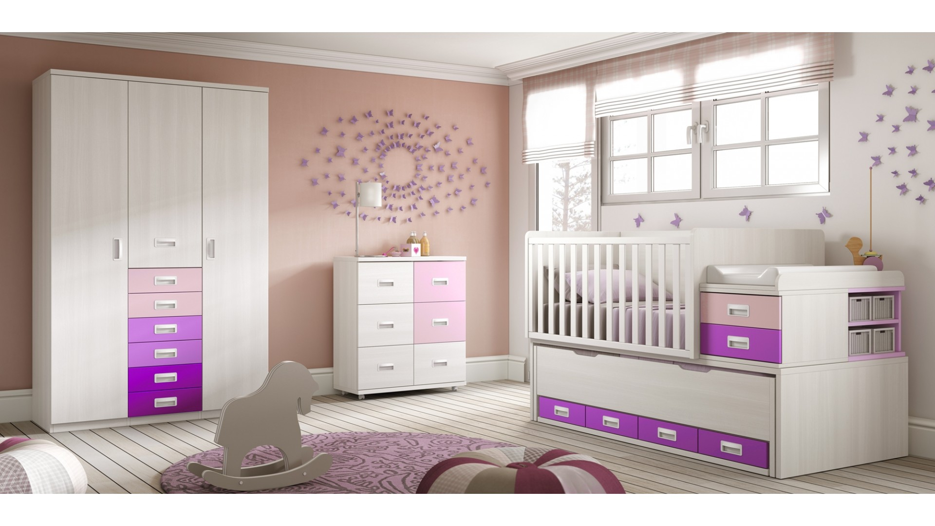 Chambre avec lit pour bébé évolutif et lit gigogne - GLICERIO