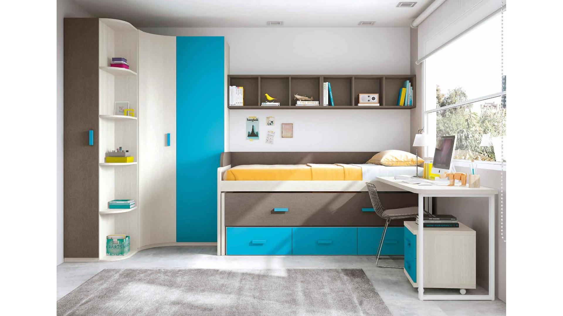 chambre garçon avec lit gigogne et bureau design - glicerio - so nuit