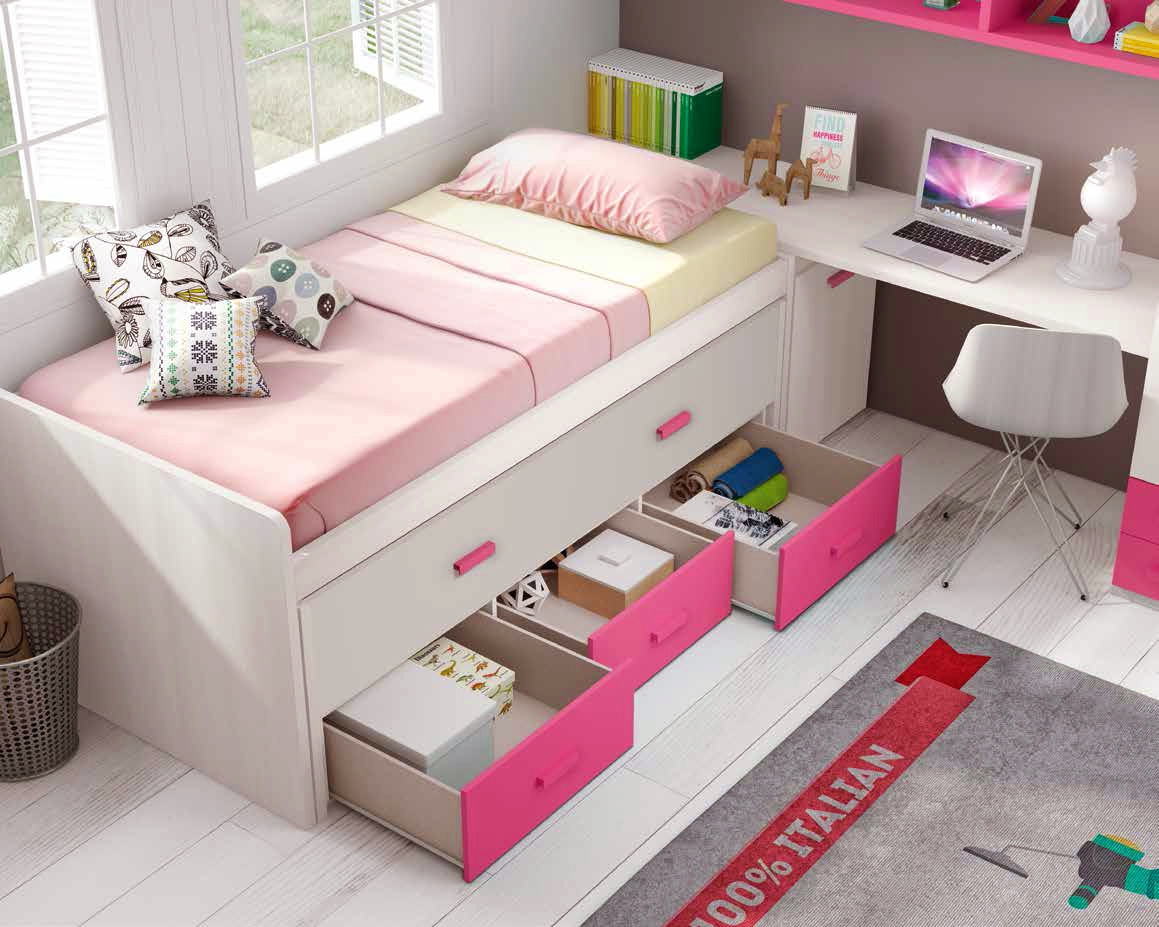 chambre de fille ado sympa avec lit gigogne glicerio. Black Bedroom Furniture Sets. Home Design Ideas
