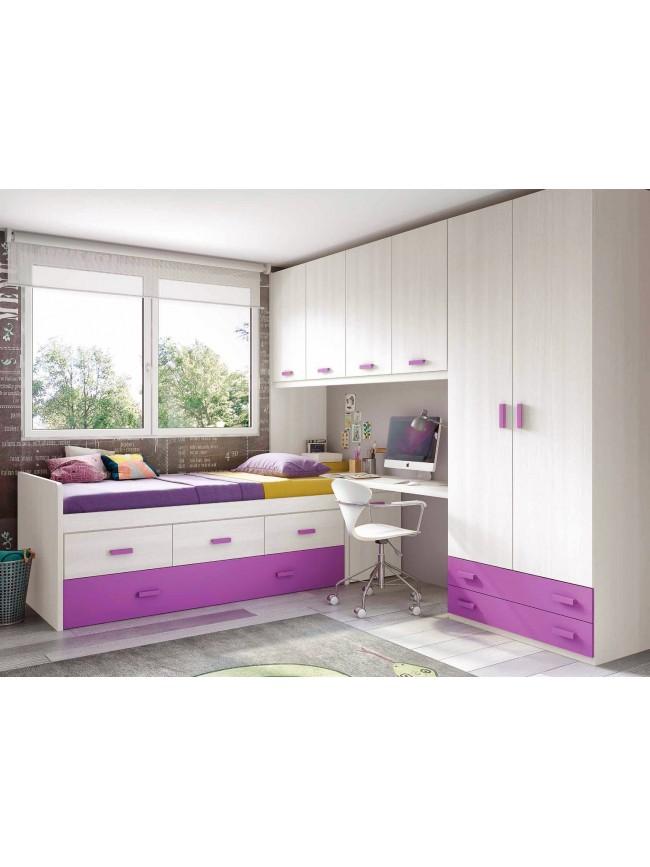chambre de fille ado sympa avec lit gigogne glicerio so nuit. Black Bedroom Furniture Sets. Home Design Ideas