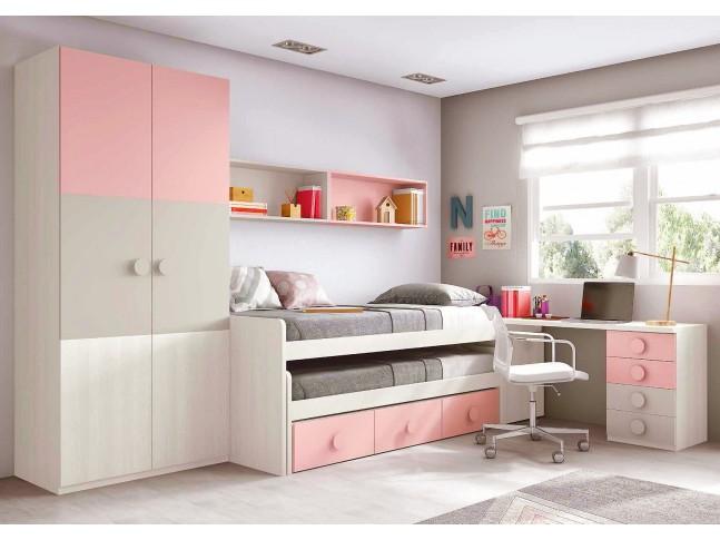 Chambre ado fille composition L020 avec lit gigogne - GLICERIO
