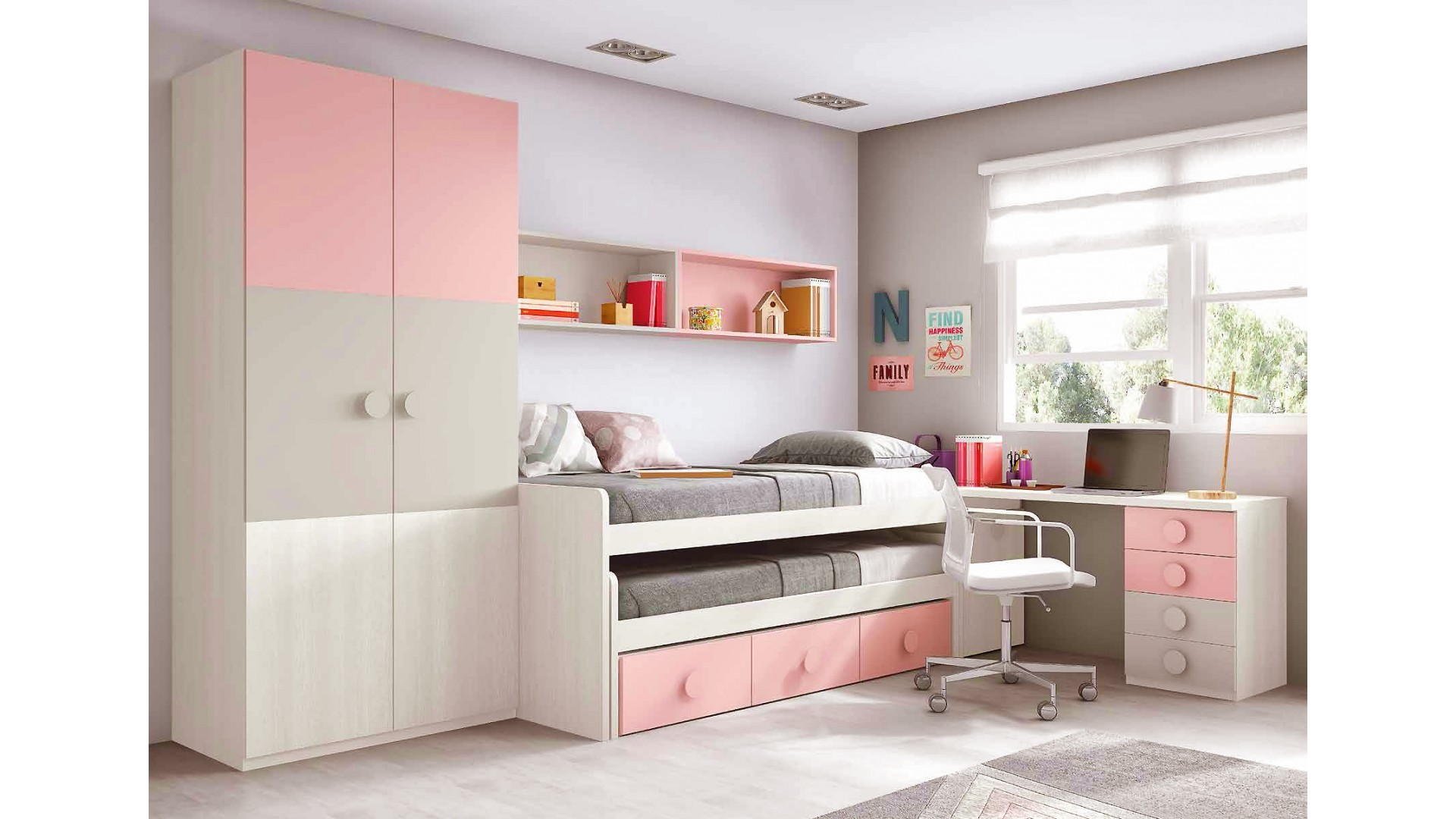 chambre ado fille astucieuse avec son lit gigogne glicerio so nuit. Black Bedroom Furniture Sets. Home Design Ideas