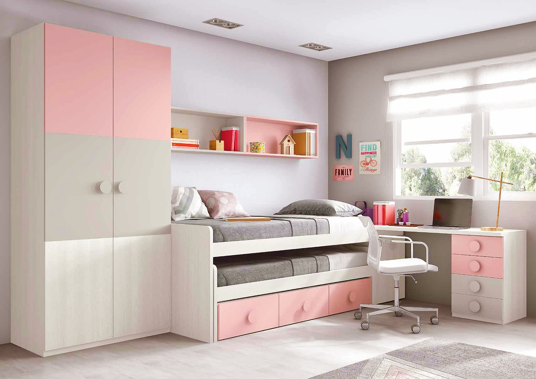 chambre ado fille astucieuse avec son lit gigogne. Black Bedroom Furniture Sets. Home Design Ideas