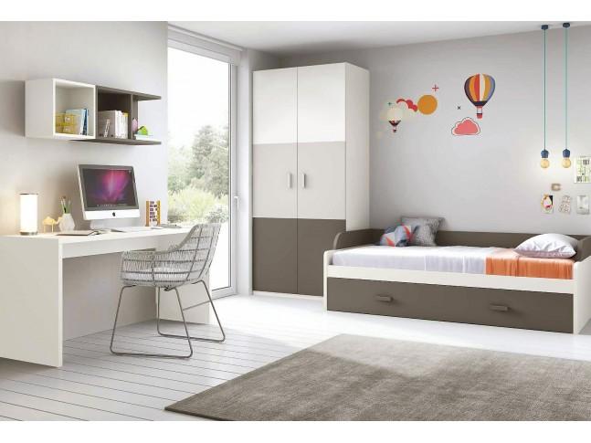 Chambre enfant complete composition L100 avec lit gigogne - GLICERIO