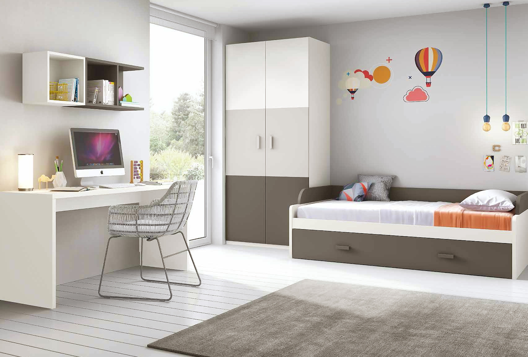 chambre enfant complete moderne avec lit gigogne. Black Bedroom Furniture Sets. Home Design Ideas
