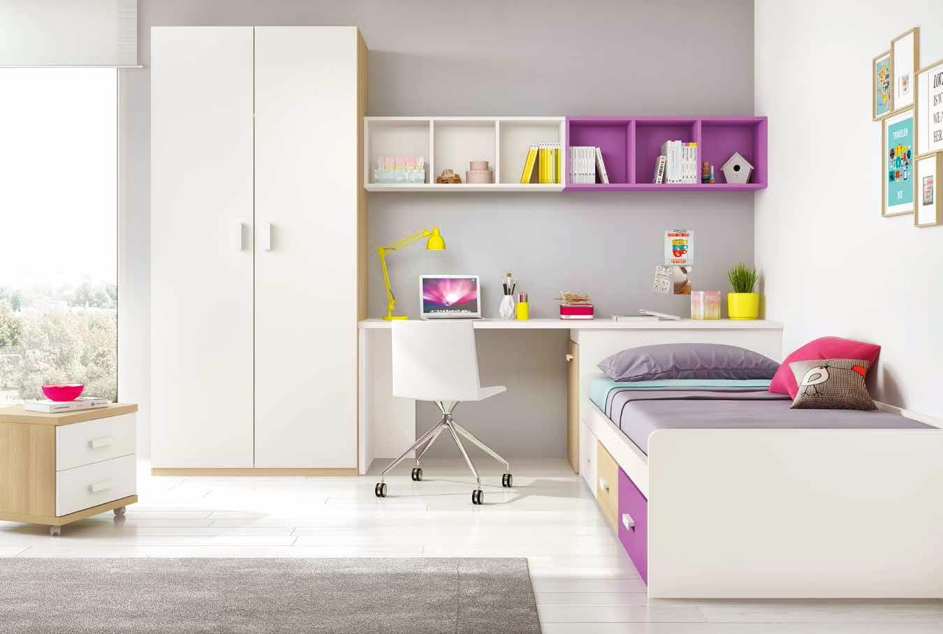 Chambre ado design multicolore avec lit 3 coffres for Habitaciones juveniles pintadas