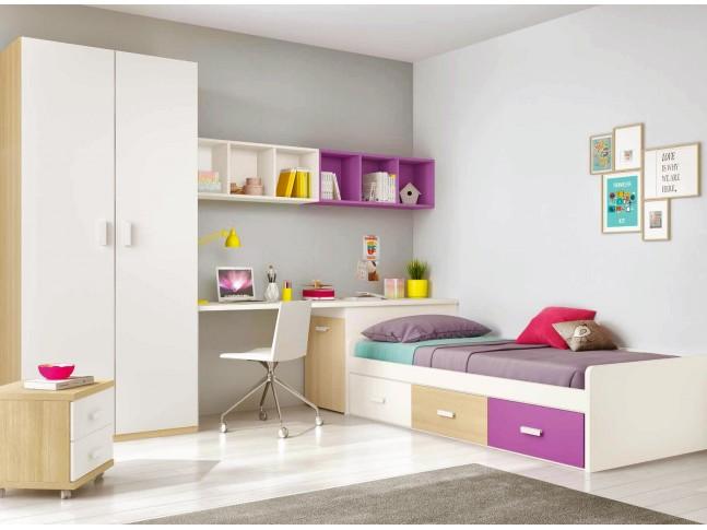 Chambre ado design composition L101 avec lit 3 coffres - GLICERIO