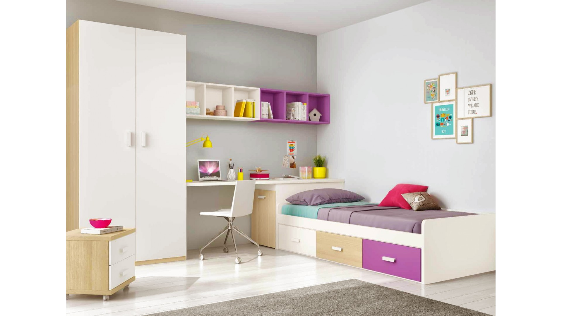 chambre ado design multicolore avec lit 3 coffres. Black Bedroom Furniture Sets. Home Design Ideas