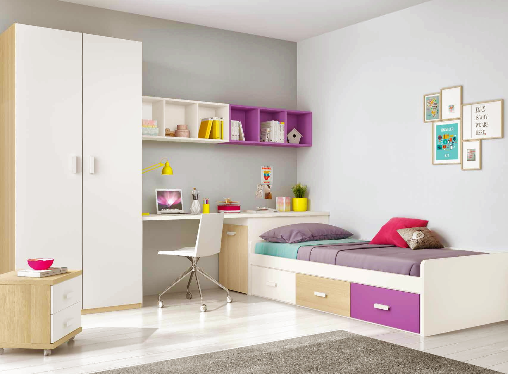 chambre ado design multicolore avec lit 3 coffres glicerio so nuit. Black Bedroom Furniture Sets. Home Design Ideas