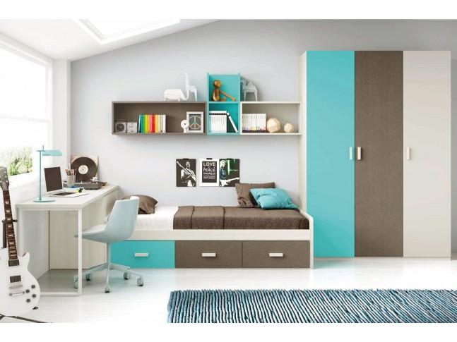 Chambre moderne ado composition L102 avec lit 3 coffres - GLICERIO