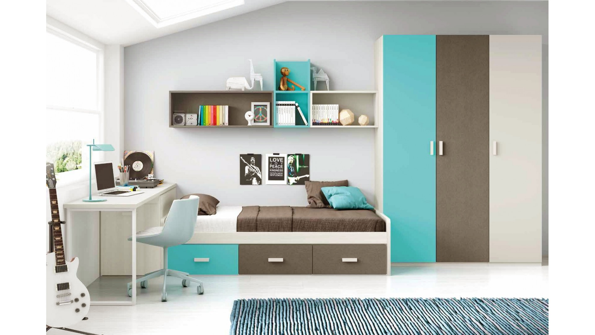 chambre moderne ado et fun avec lit 3 coffres glicerio so nuit. Black Bedroom Furniture Sets. Home Design Ideas