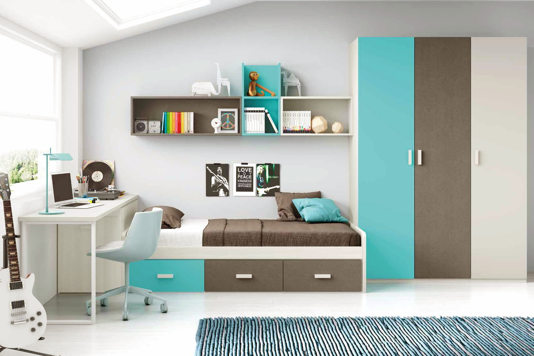 chambre moderne ado et fun avec lit 3 coffres glicerio. Black Bedroom Furniture Sets. Home Design Ideas